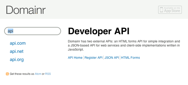 Domai.nr's API can be found here. We're using the JSON API, which has two ...