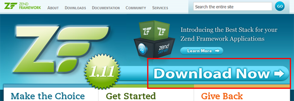Zend Framework Download Now link