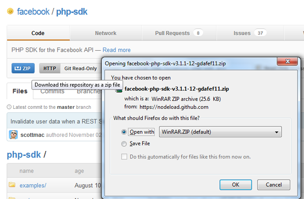 Downloading Facebook's PHP SDK