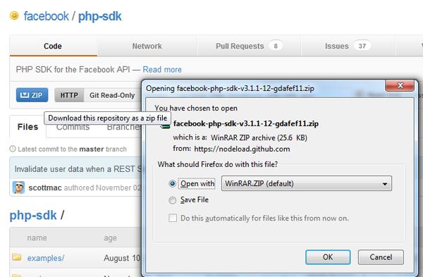 Downloading Facebook's PHP SDK