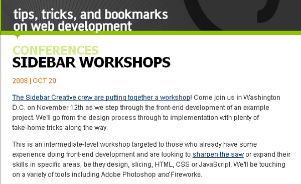 Sidebar Workshops