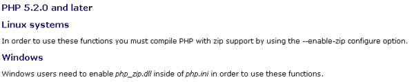 PHP.NET Zip info