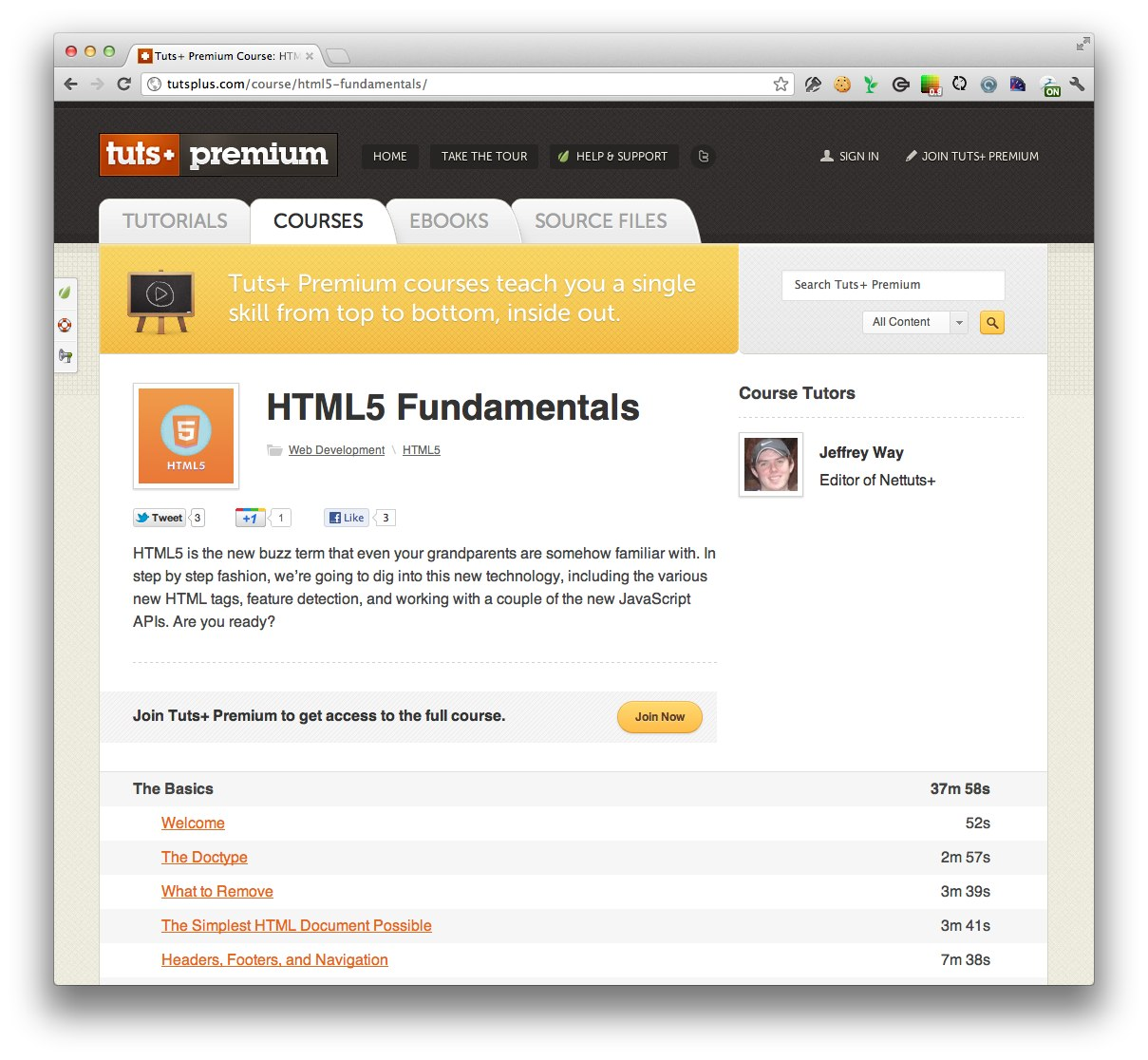 HTML5 Fundamentals Screencast Course