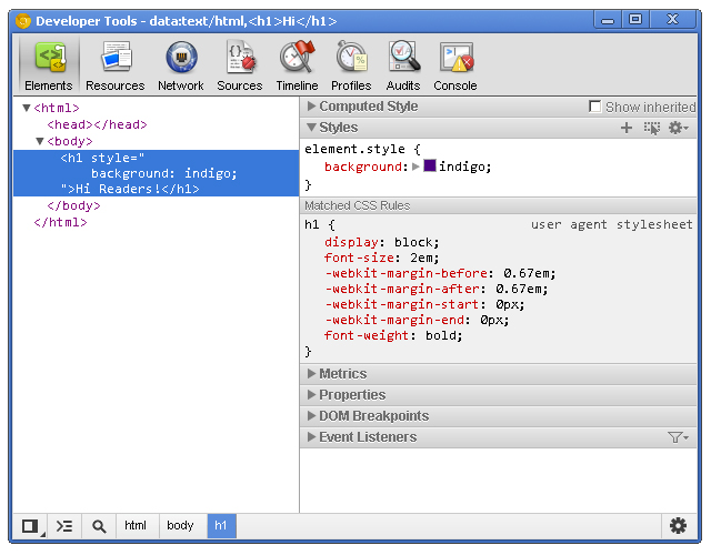 Chrome dev tools markup and style