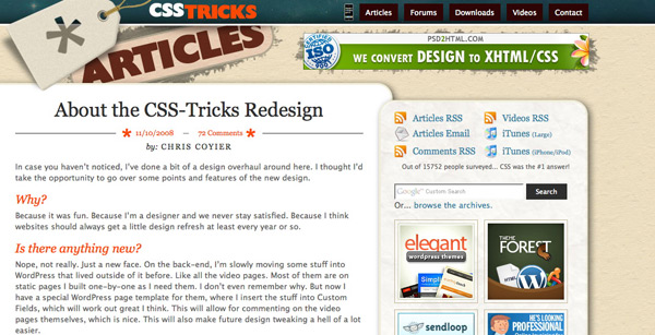 CSS Redesign Screenshot
