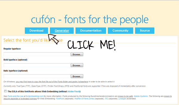 Cufon homepage