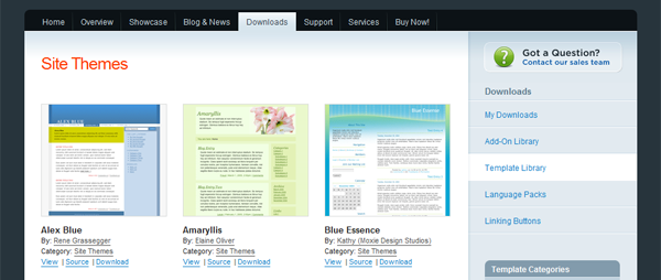 The ExpressionEngine Templates homepage