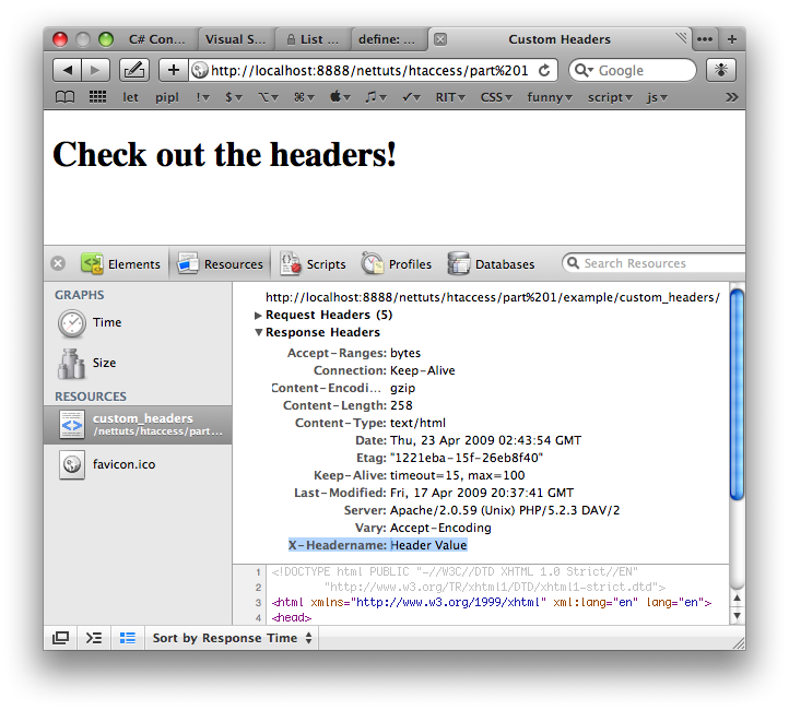 Custom Header Shown in Safari's Web Inspector