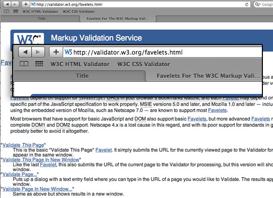 Safari W3C Validation Favelets