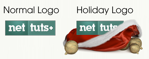 Normal Logo becomes Holiday Logo