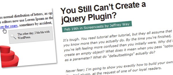 You still can't crate a jQuery Plugin