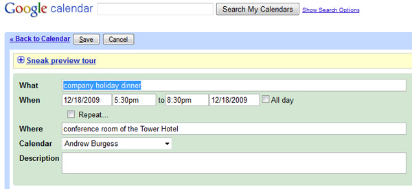 Google Calendar, importing hCalendar