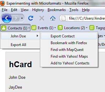 hCard in Operator