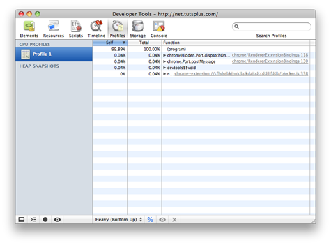 A screenshot of the Profile Panel of the Chrome Developer Tools