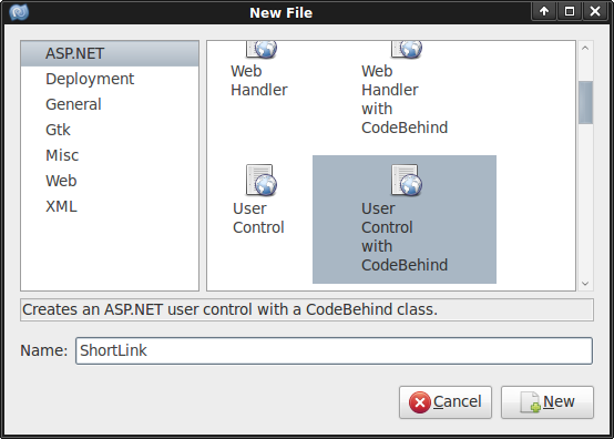 Adding a new user control