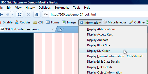web developer toolbar's display div order command chosen