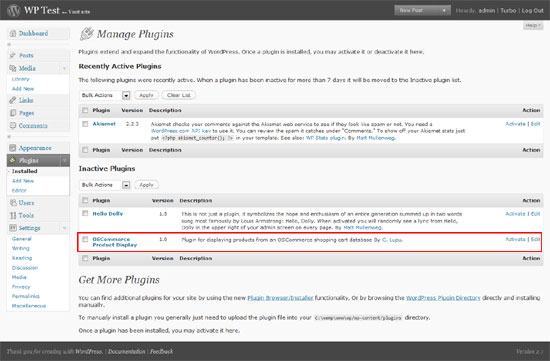 Admin panel with deactivated plugin